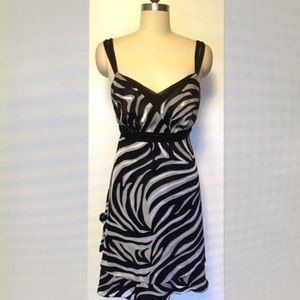 WHBM black, gray, and ivory silk blend dress